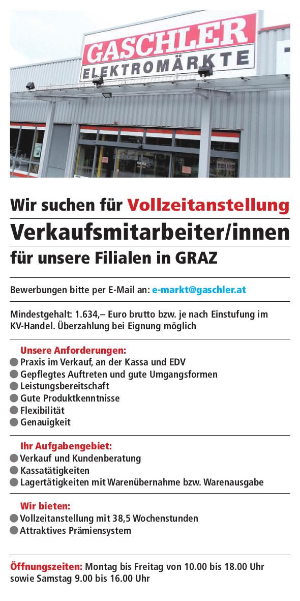 VerkaufsmitarbeiterIn für unsere Filialen in Graz